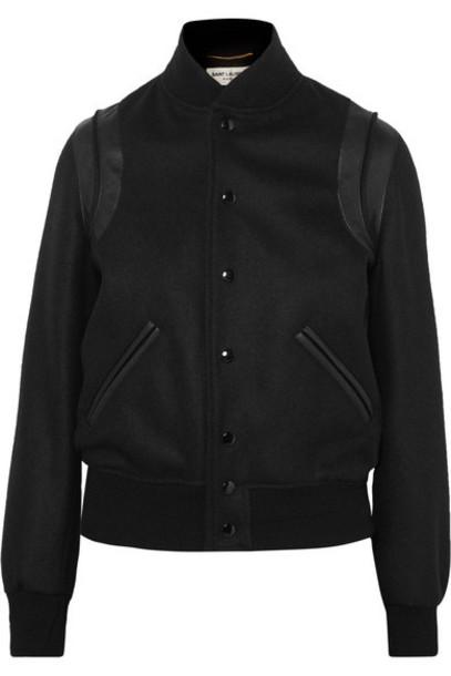 SAINT LAURENT - Teddy Leather-trimmed Wool-blend Bomber Jacket - Black