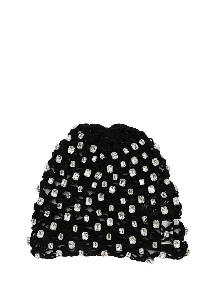 SAINT LAURENT Embellished Crochet Bonnet Hat in black