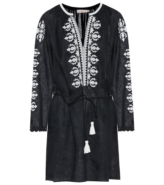 Tory Burch Embroidered linen minidress in black
