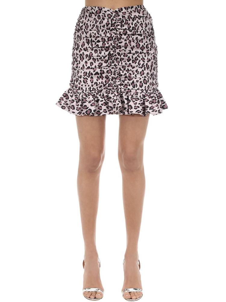 MARIANNA SENCHINA Draped Taffeta Mini Skirt in black / pink