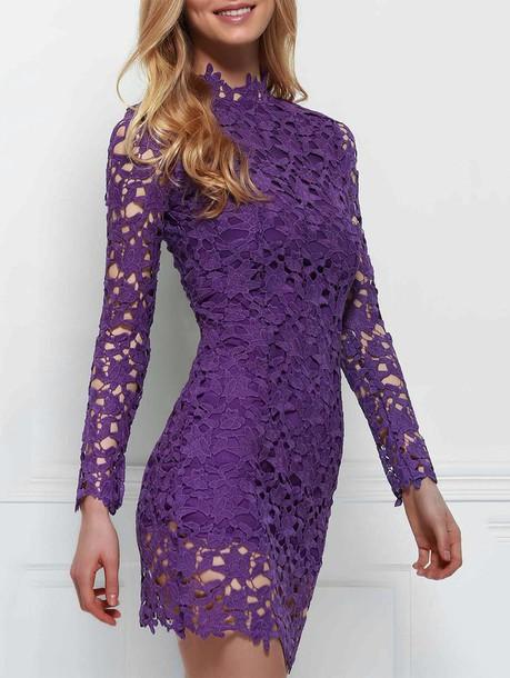 dress purple summer long sleeves fashion style romantic trendy dressfo