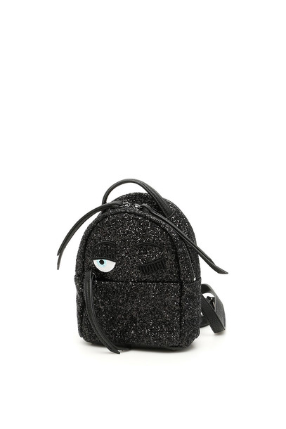 Chiara Ferragni Glitter Flirting Mini Backpack in black