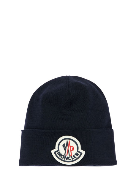 MONCLER Virgin Wool Knit Beanie W/ Macro Logo in navy