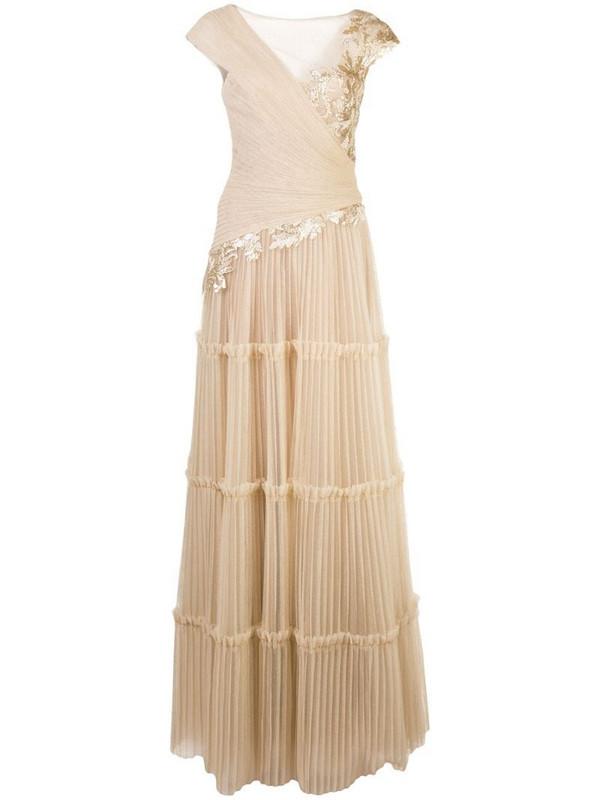 Tadashi Shoji Sovann embroidered gown in gold