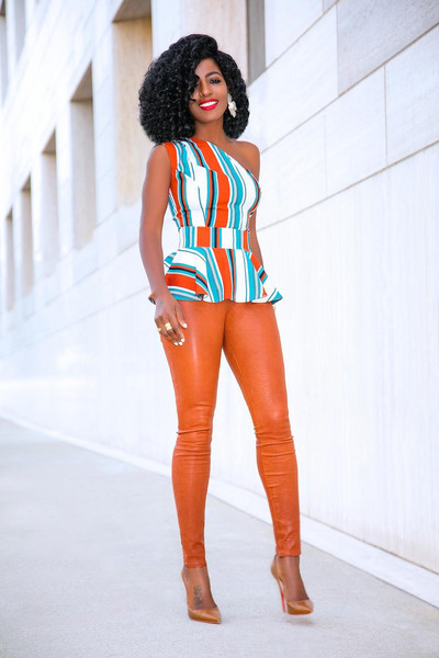 blogger top pants shoes orange leggings pumps one shoulder