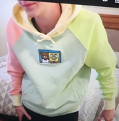 sweater,green,sweatshirt,pink,blue,yellow,spongebob,bear,pastel,hoodie