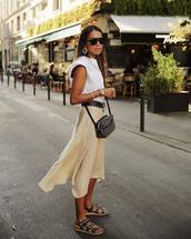 shoes,flat sandals,chanel,asymmetrical skirt,white shirt,crossbody bag