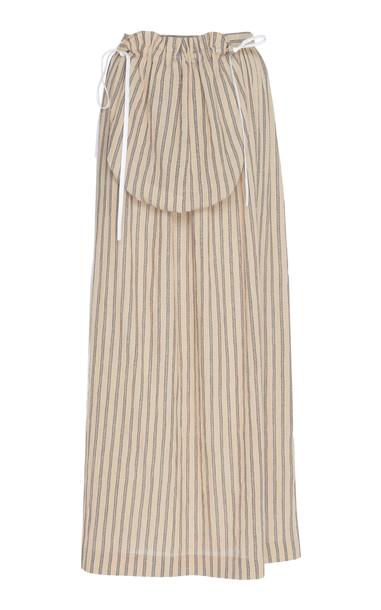 Loewe Striped Cotton-Poplin Midi Skirt