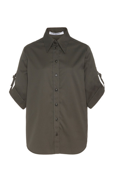 Givenchy Buckle-Detailed Cotton-Poplin Button-Up Shirt Size: 34 in green