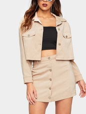 jumpsuit,girly,girl,girly wishlist,two-piece,cropped,crop,cropped jacket,skirt,matching set,button up