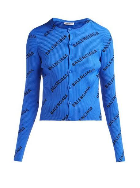 Balenciaga - Diagonal Logo Print Ribbed Cardigan - Womens - Black Blue