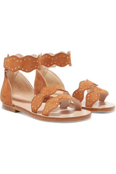 Chloé Kids - Sizes 25 - 27 Studded Suede Sandals in brown