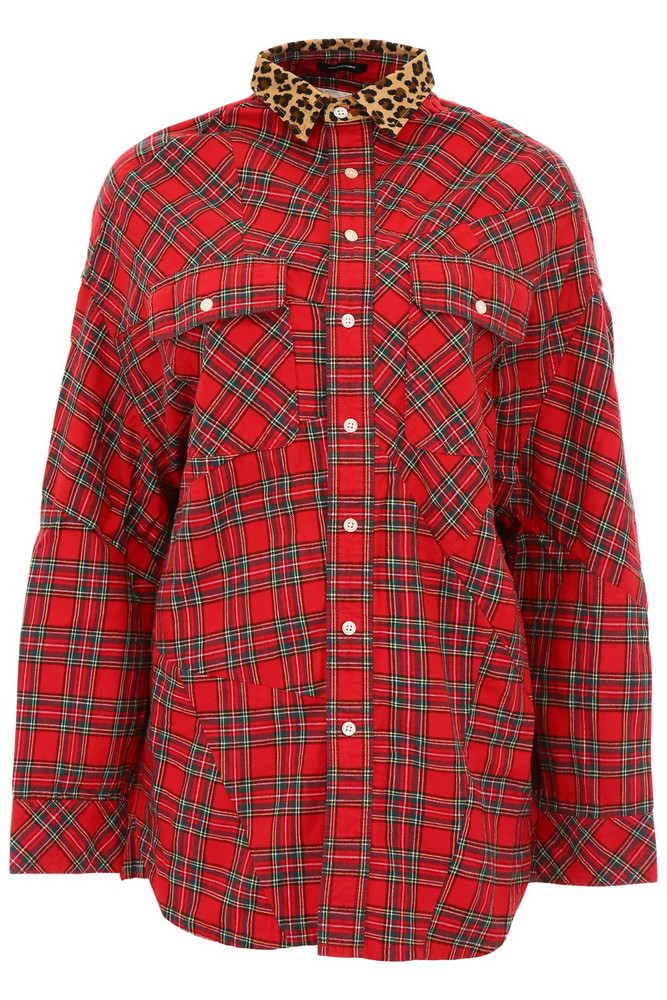 R13 Patchwork Shirt in red / leopard