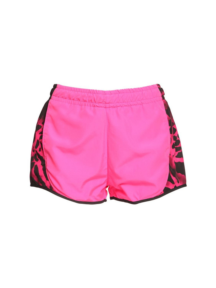REDEMPTION Nylon Shorts W/ Animalier Details in pink