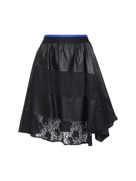 KOCHE' Faux Leather & Lace Knee Length Skirt in black