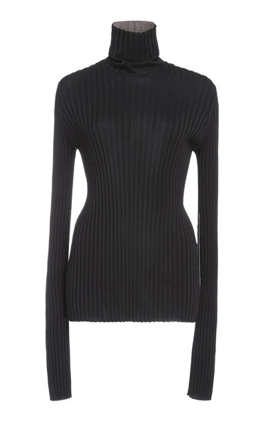 Victoria Beckham Polo Neck Top With Sleeve Gathers in black