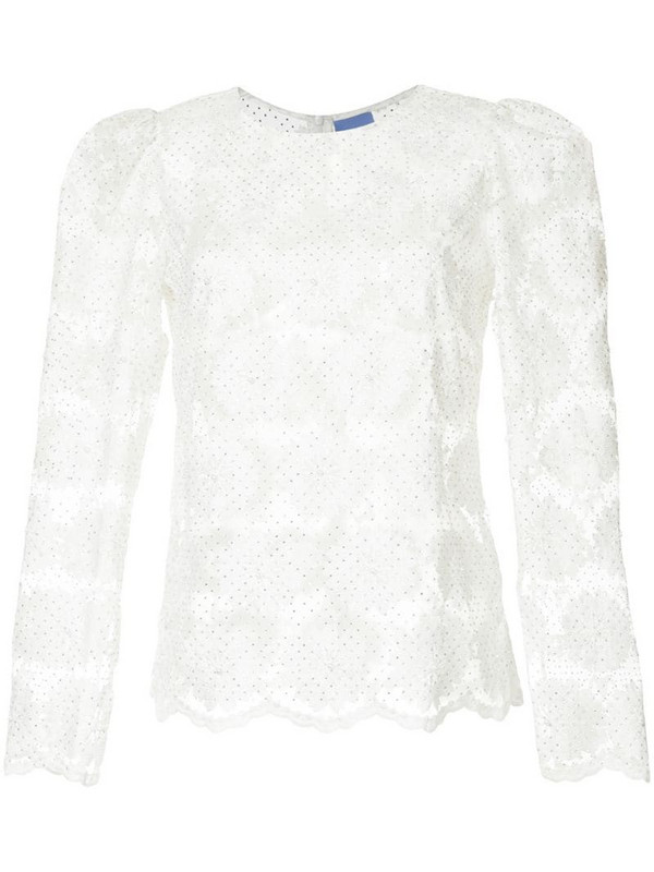 Macgraw embroidered floral blouse in white