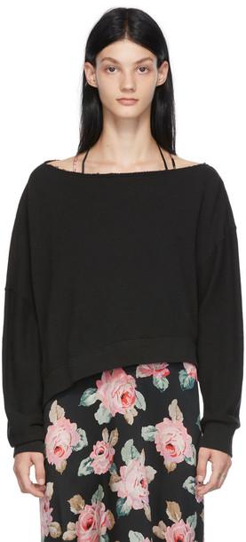 R13 Black Patti Off-Shoulder Sweatshirt