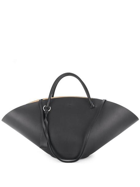 Jil Sander fan tote bag in black