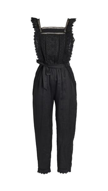 FRAME Lace Eyelet Jumpsuit in noir