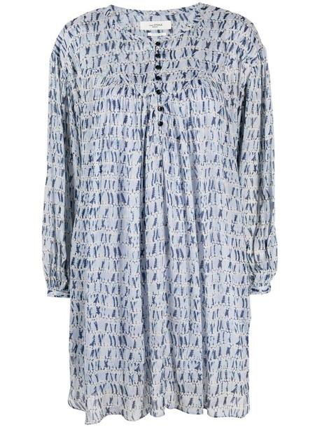 Isabel Marant Étoile printed long-sleeved midi dress in blue