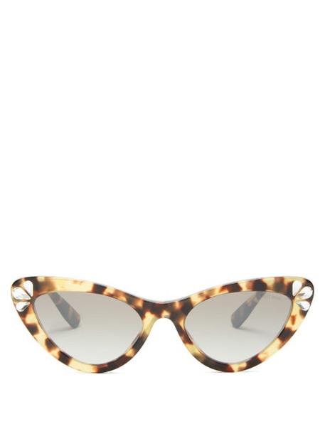 Miu Miu - Crystal Tortoiseshell Cat-eye Acetate Sunglasses - Womens - Tortoiseshell