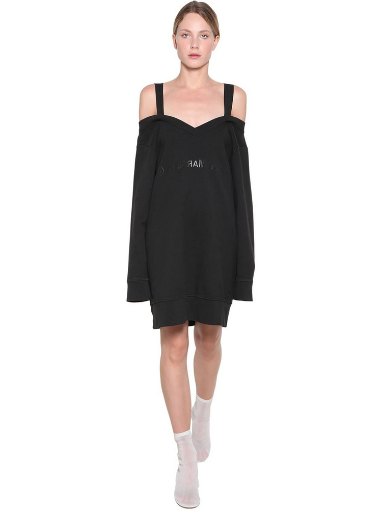 MM6 MAISON MARGIELA Off-the-shoulder Cotton Sweater Dress in black