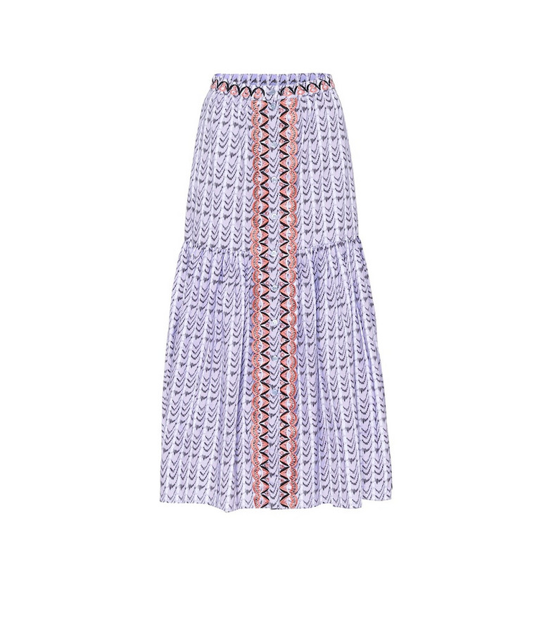 Temperley London Poet printed high-rise cotton skirt in purple