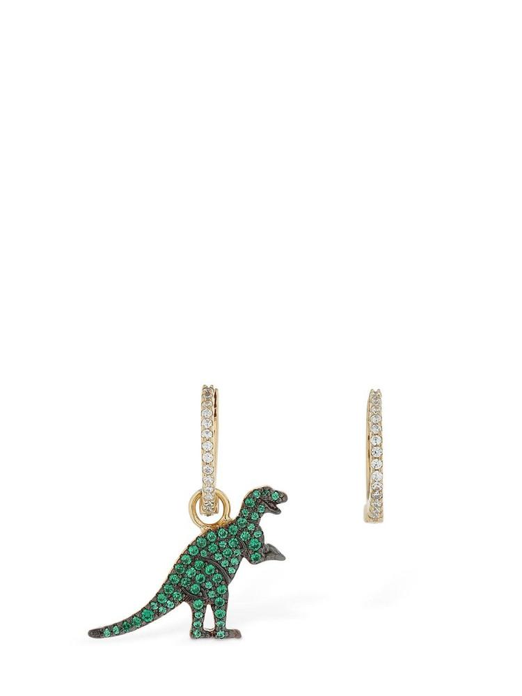 APM MONACO Small Asymmetric Rexy Earrings in gold / green