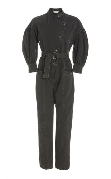 Sea Idum Denim Long Sleeve Jumpsuit in black
