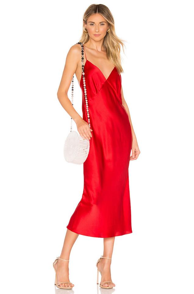Olivia von Halle Issa Silk Bias Cut Slip Dress in red