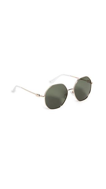 Le Specs Psarou Sunglasses in gold / green