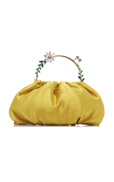Rosantica Dalma Crystal Flower Top Handle Bag in yellow