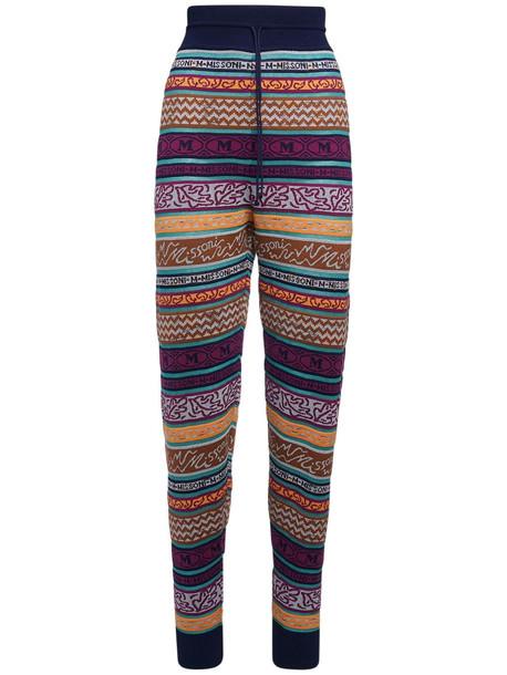 M MISSONI All Over Logo Cotton Blend Pants in purple / multi