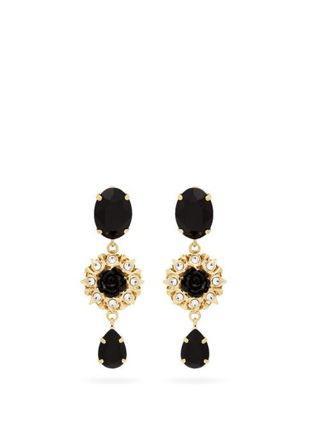 Dolce & Gabbana - Crystal-embellished Floral-drop Clip Earrings - Womens - Black