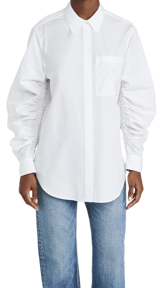 3.1 Phillip Lim Long Sleeve Shirt With Gathered Sleeves in white
