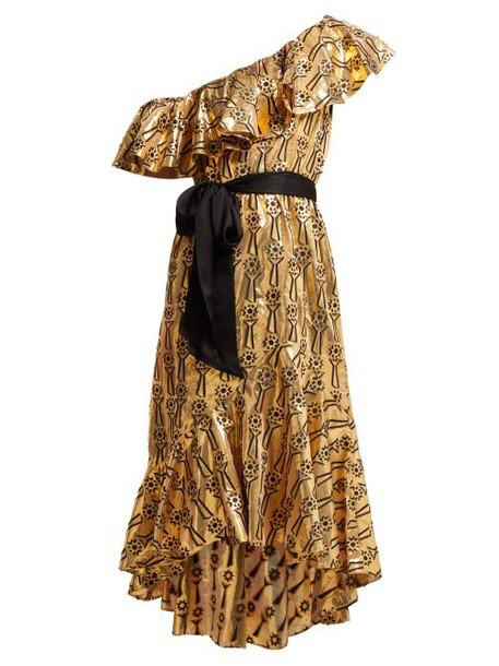 Temperley London - Eliska Ruffled One Shoulder Dress - Womens - Gold