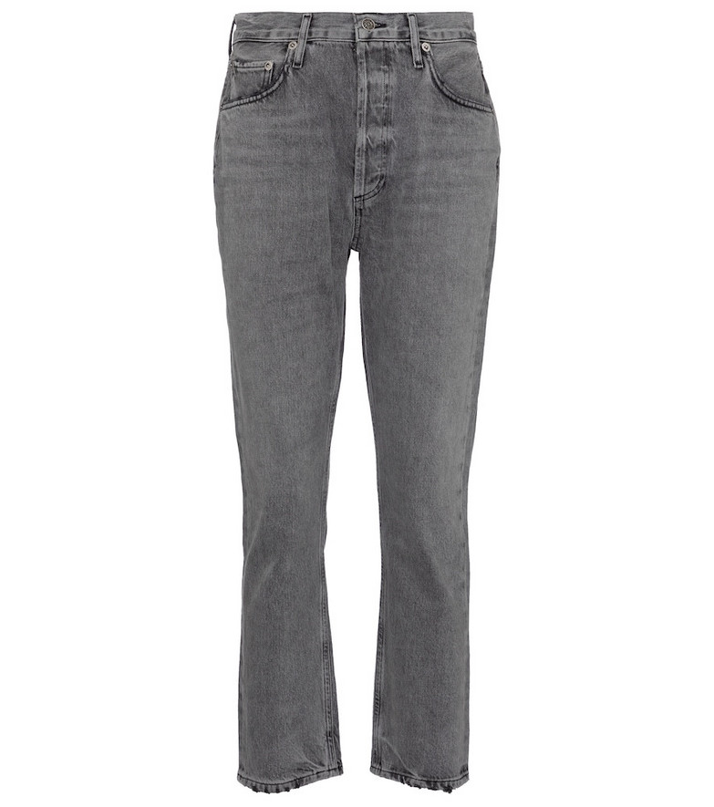 Agolde Riley high-rise straight cropped jeans in grey