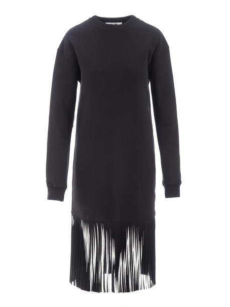 Msgm Fringed Sweatshirt Dress in black
