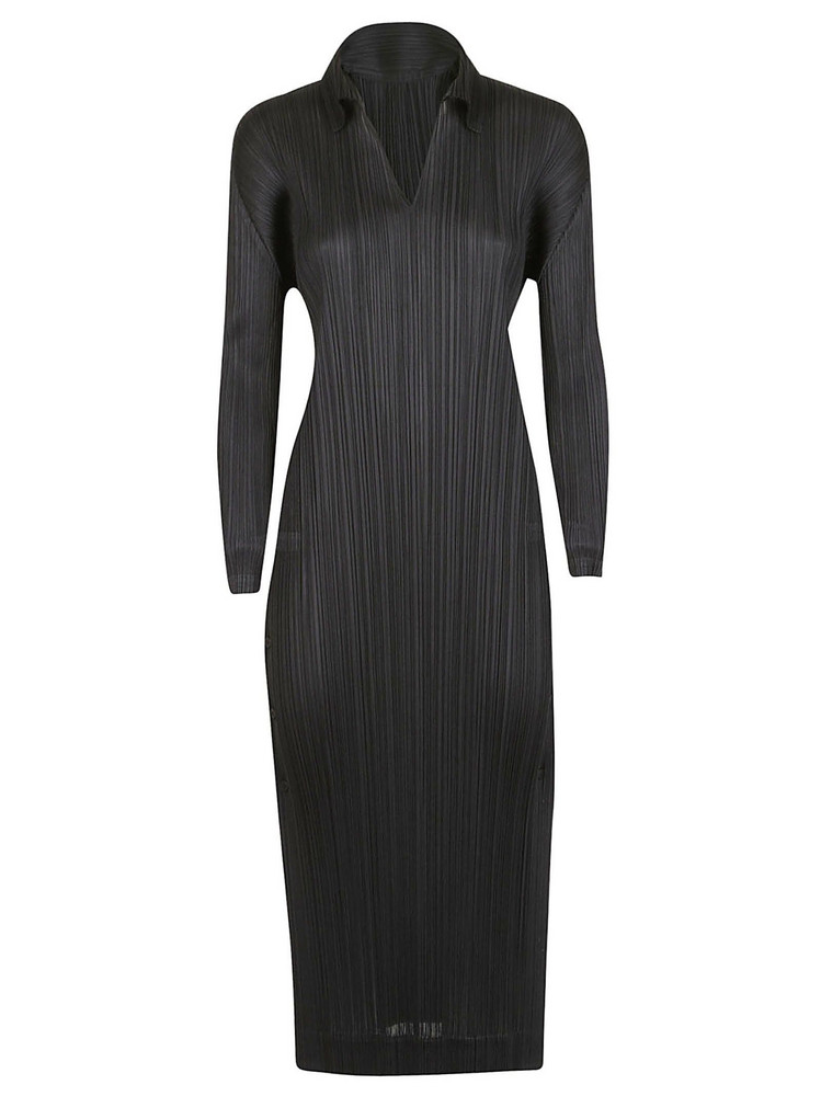 Issey Miyake Side Button Midi Dress in black
