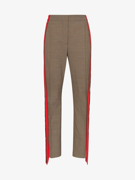 Burberry Stripe Detail Wool Cotton Tailored Trousers in neutrals