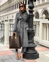 coat,grey coat,long cardigan,pumps,brown bag,louis vuitton bag,cropped jeans,grey turtleneck top