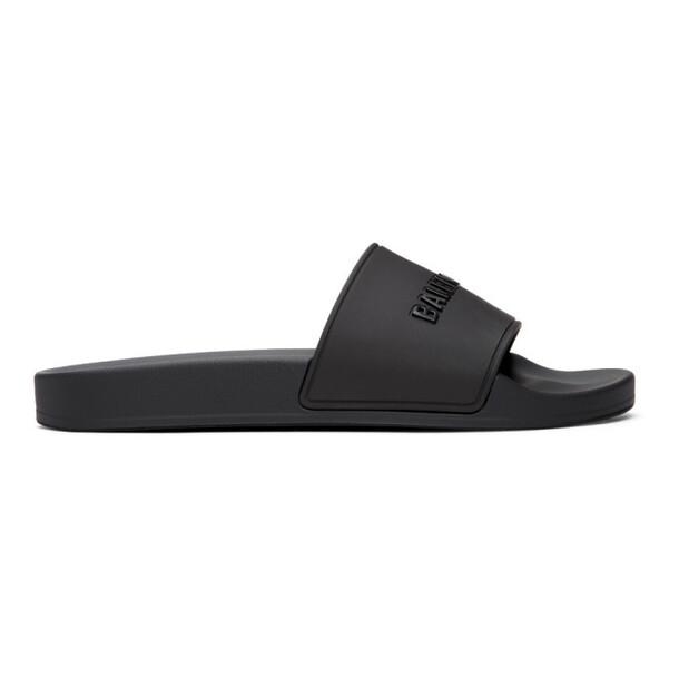 Balenciaga Black Logo Pool Slides