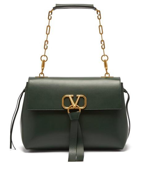 Valentino - V Ring Medium Leather Shoulder Bag - Womens - Dark Green
