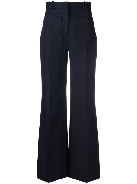 Victoria Beckham high-waisted patch pockets trousers in blue