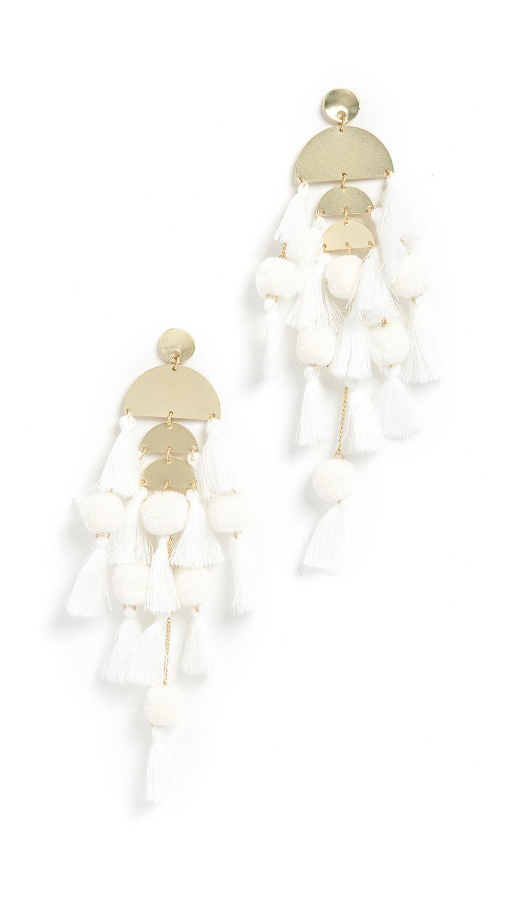Stella + Ruby Stella + Ruby Large Chandelier Tassel Earrings in white