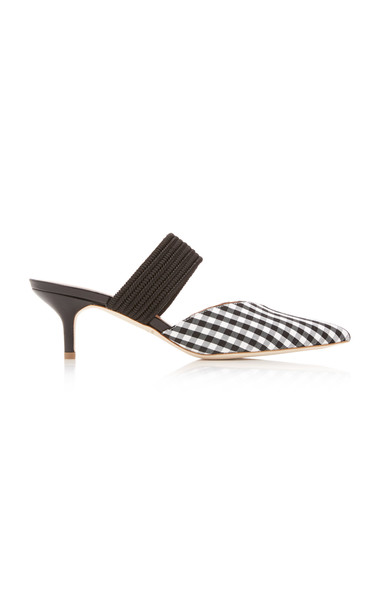 Malone Souliers Maisie Luwolt Gingham Mules Size: 37.5 in black
