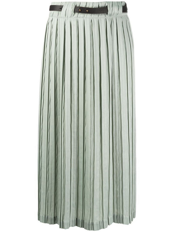 Alysi belted-waist pleated midi-skirt in green