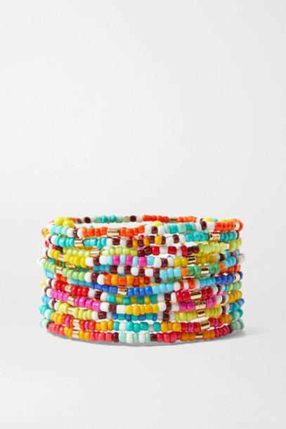 Roxanne Assoulin - New Patchwork Set Of 12 Beaded Bracelets - Red