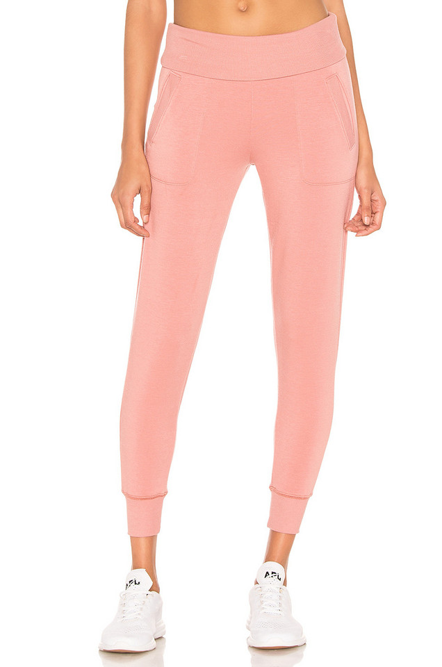 Beyond Yoga Foldover Long Sweatpant in pink